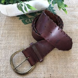 Liz Claiborne brown wide leather brass belt large